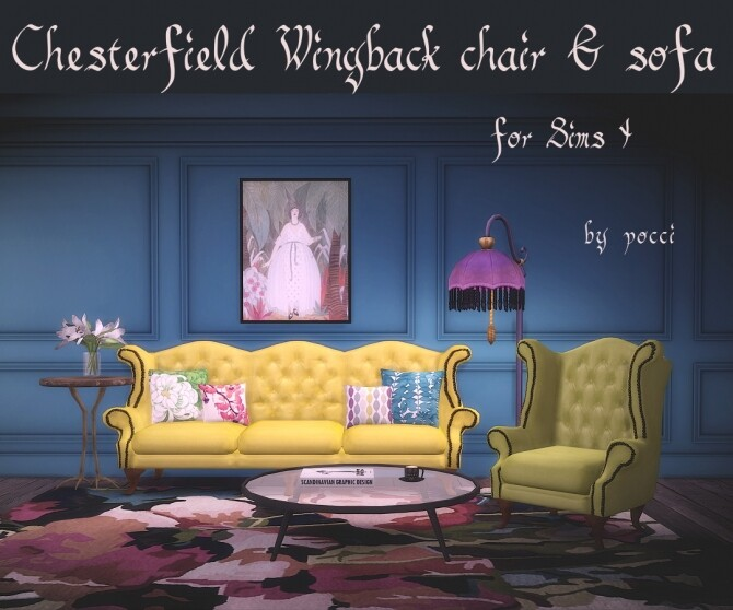 Chesterfield Wingback Chair and Sofa by Pocci at Garden Breeze Sims 4 image 129 670x558 Sims 4 Updates
