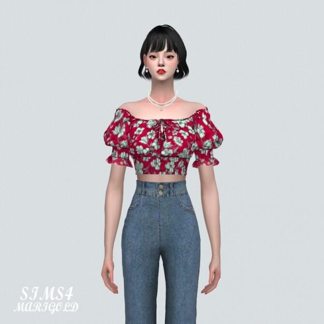 Summer Flower Blouse Off Shoulder V at Marigold image 1308 670x670 Sims 4 Updates