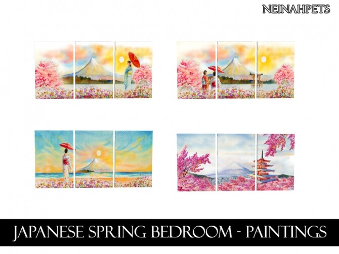 Sims 4 Japanese Spring Bedroom by neinahpets at TSR