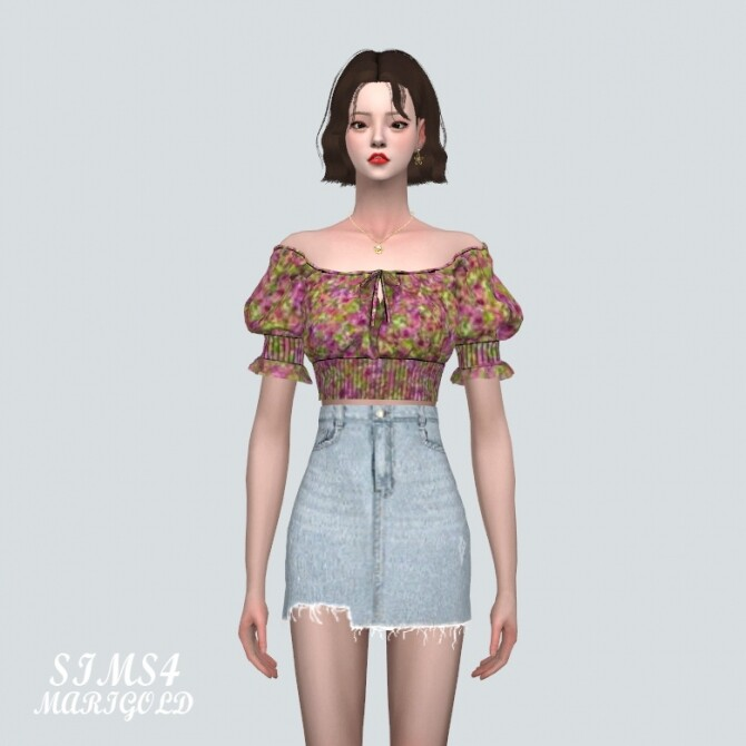 Summer Flower Blouse Off Shoulder V at Marigold image 13112 670x670 Sims 4 Updates