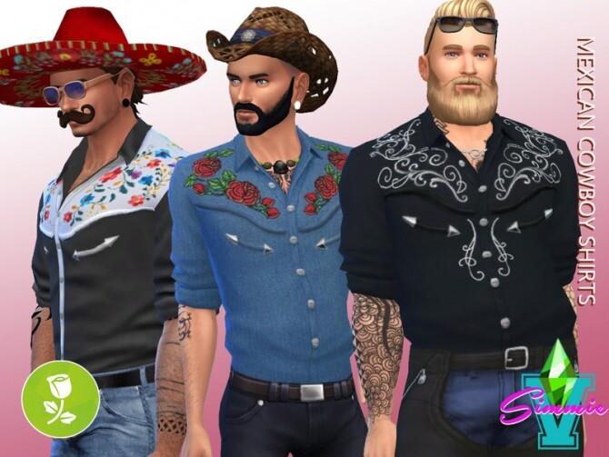 Sims 4 Mexican Cowboy Shirts by SimmieV at TSR