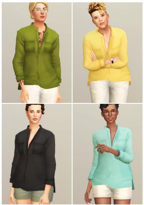 Linen Shirt V1 Solid at Rusty Nail image 13316 Sims 4 Updates