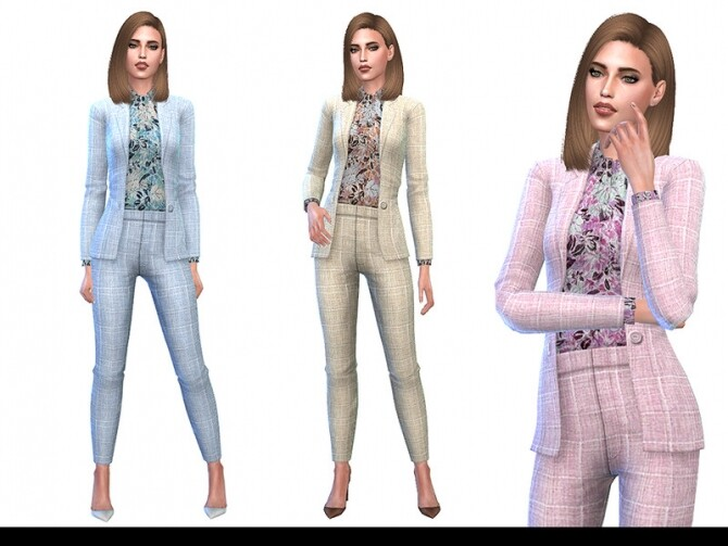 Sims 4 Wear To Work 01 Plaid Suiting Jacket and Pants by Little Things at TSR