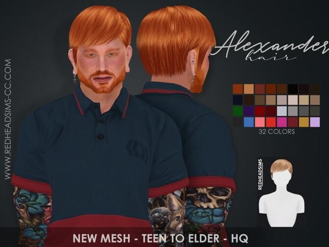 Sims 4 ALEXANDER HAIR at REDHEADSIMS