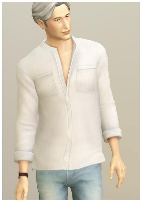 Linen Shirt V1 Solid at Rusty Nail image 13414 Sims 4 Updates