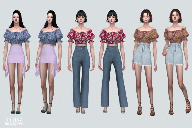 Summer Flower Blouse Off Shoulder V at Marigold image 1347 670x447 Sims 4 Updates