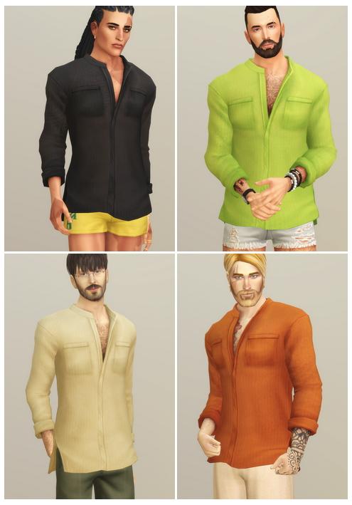 Linen Shirt V1 Solid at Rusty Nail image 13513 Sims 4 Updates
