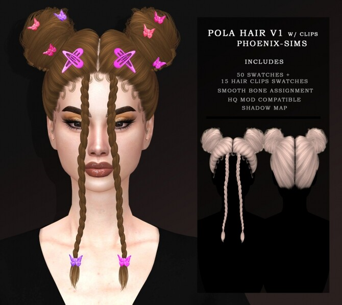 Sims 4 POLA HAIR V1 & V2 WITH HAIR CLIPS at Phoenix Sims