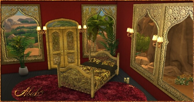 Sims 4 1001 Nights Set: Window, Door, Bed & Rug at Abuk0 Sims4