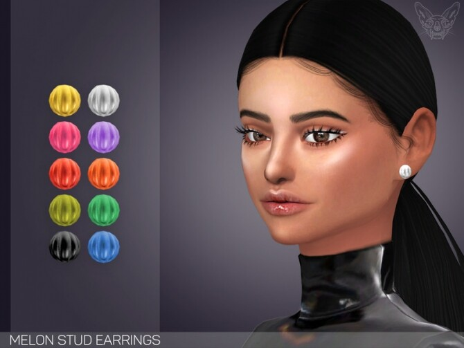 Sims 4 Melon Stud Earrings by feyona at TSR