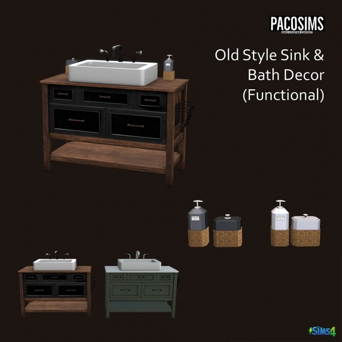 Old Style Sink & Bath Decor Functional (P) at Paco Sims image 1438 670x670 Sims 4 Updates