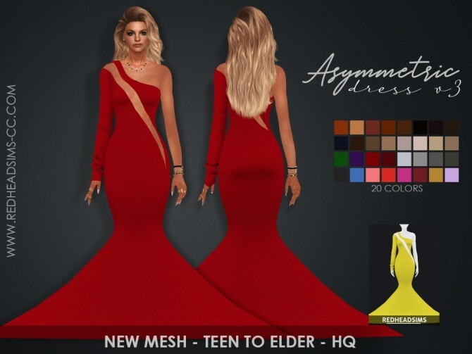 Sims 4 ASYMMETRIC DRESSES by Thiago Mitchell at REDHEADSIMS