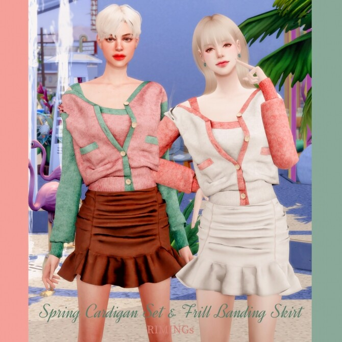 Spring Cardigan & Frill Banding Skirt at RIMINGs image 1489 670x670 Sims 4 Updates