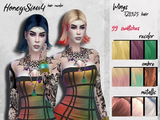 Sims 4 Female hair recolor Wings TZ0325 by HoneysSims4 at TSR