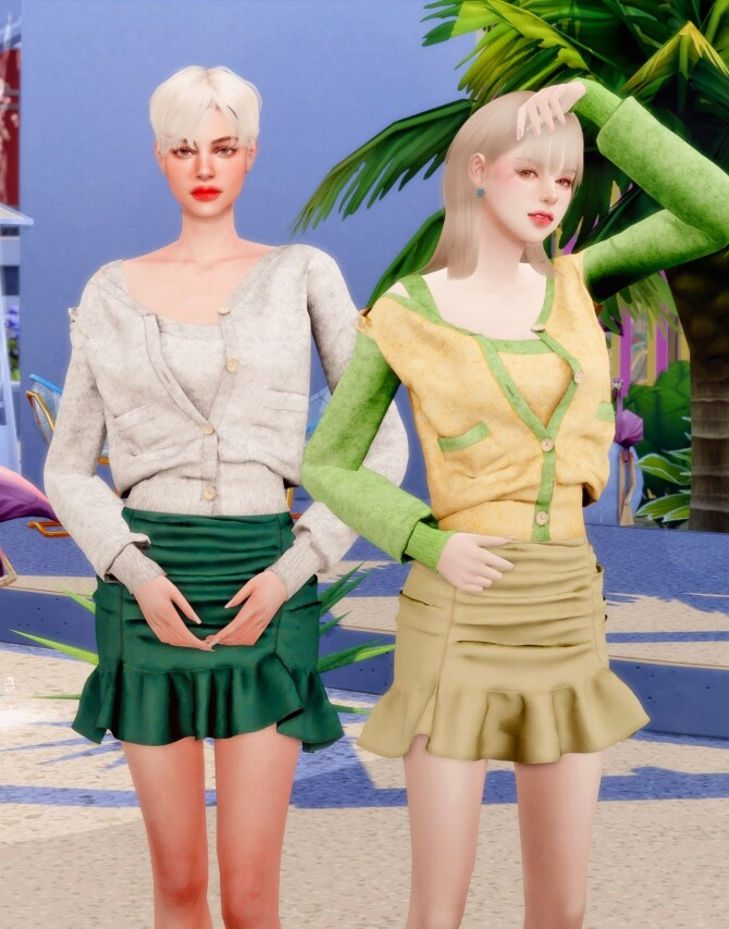 Spring Cardigan & Frill Banding Skirt at RIMINGs image 14910 670x854 Sims 4 Updates