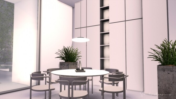 Sims 4 White Square Minimalist Home at SoulSisterSims