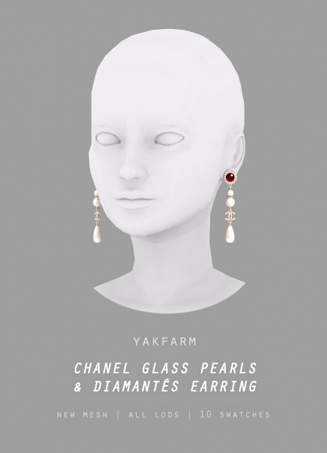 Glass Pearls & Diamond Earrings at Yakfarm image 1497 670x928 Sims 4 Updates