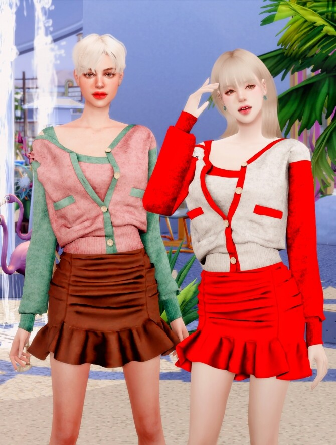 Spring Cardigan & Frill Banding Skirt at RIMINGs image 15011 670x886 Sims 4 Updates