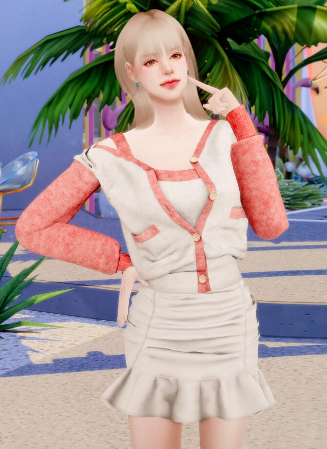 Spring Cardigan & Frill Banding Skirt at RIMINGs image 15312 670x920 Sims 4 Updates