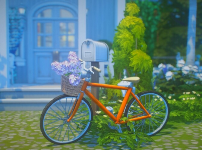 Sims 4 Bicycle with lilac in basket by Pocci at Garden Breeze Sims 4