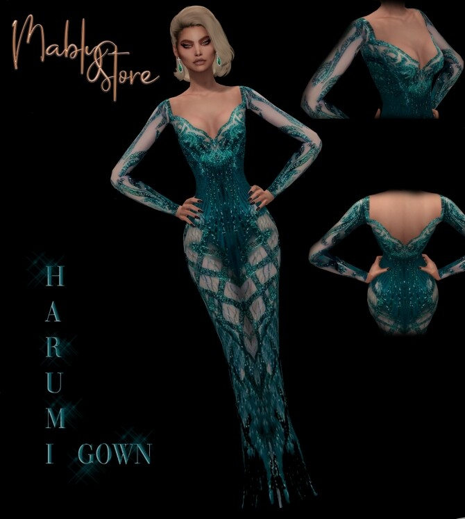 Sims 4 HARUMI GOWN at Mably Store