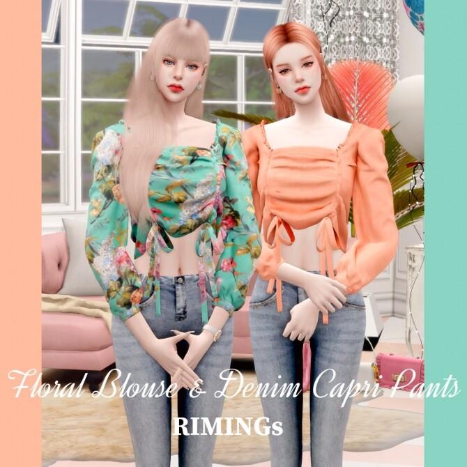 Sims 4 Floral Blouse & Denim Capri Pants at RIMINGs