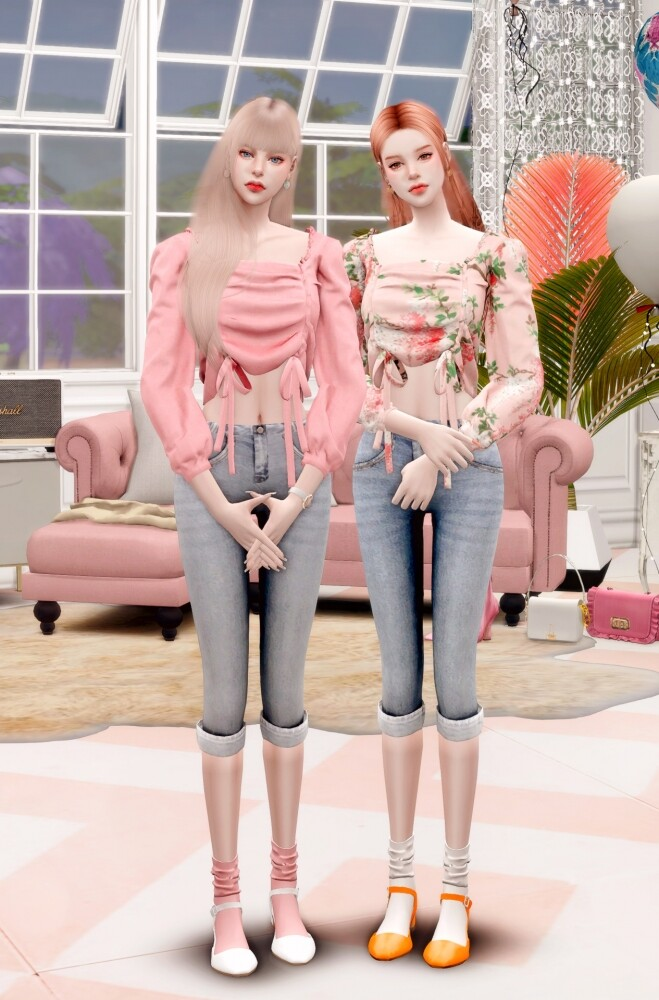 Floral Blouse & Denim Capri Pants at RIMINGs image 1621 659x1000 Sims 4 Updates