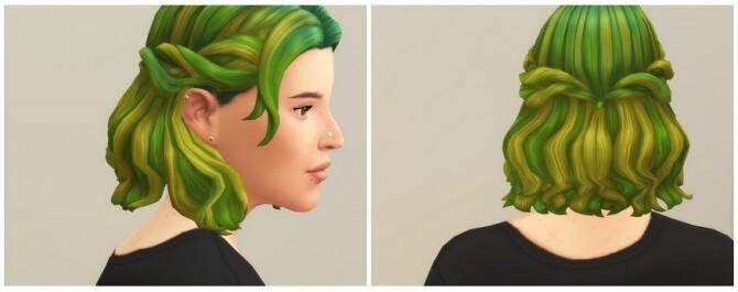 Sims 4 Half up Braid Hair Edit (Ombré) at Rusty Nail