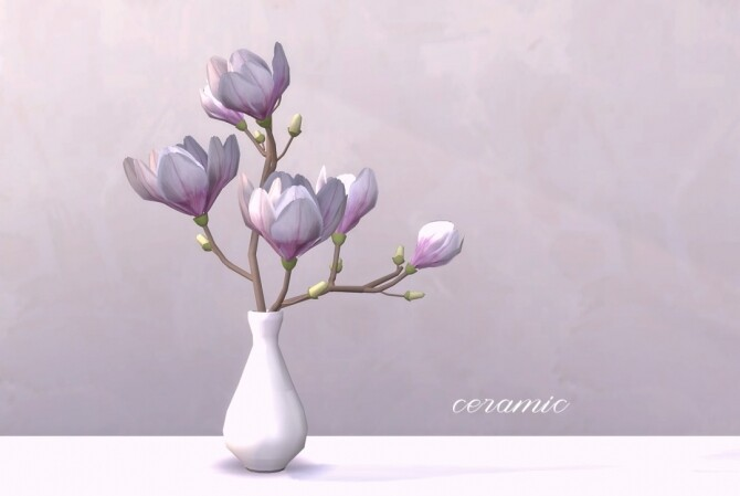 Sims 4 Magnolia branches in two types of vases by Pocci at Garden Breeze Sims 4