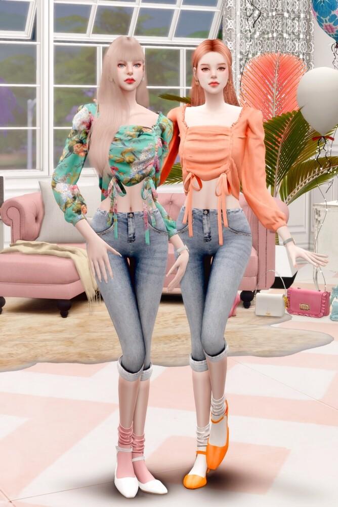 Floral Blouse & Denim Capri Pants at RIMINGs image 1631 668x1000 Sims 4 Updates