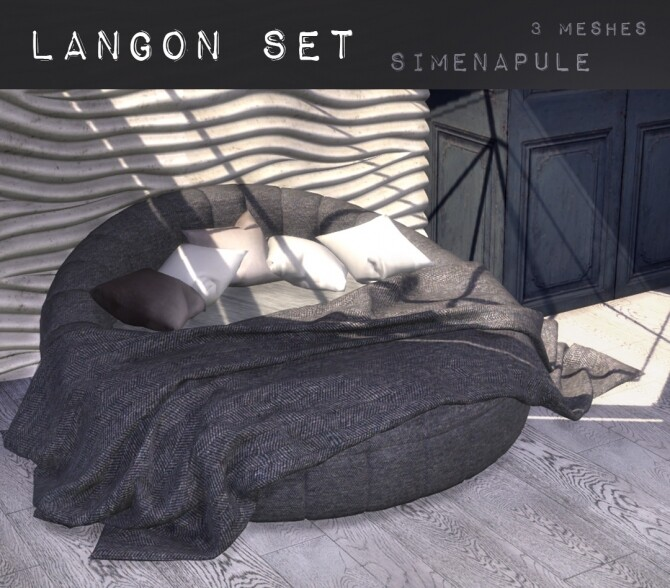 Sims 4 Langon Bed Set by Ronja at Simenapule