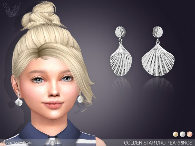 Sims 4 Golden Shell Drop Earrings For Kids by feyona at TSR