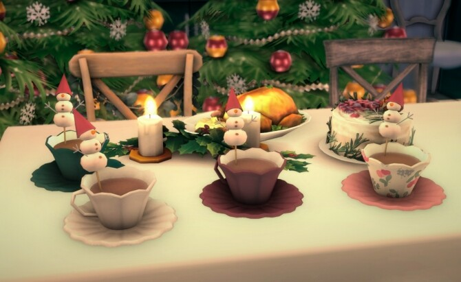 Sims 4 A cup of hot chocolate with marshmallow snowman by Pocci at Garden Breeze Sims 4
