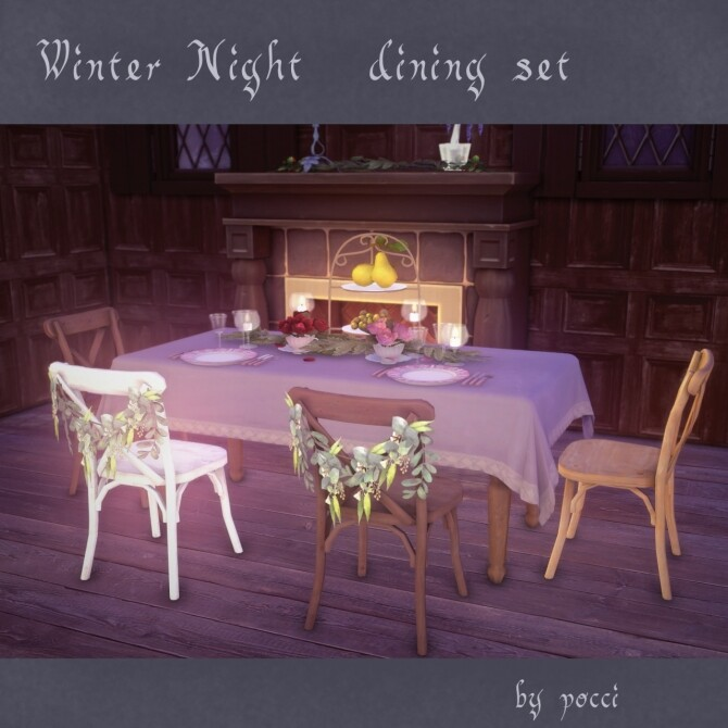 Sims 4 Winter night dining set by Pocci at Garden Breeze Sims 4