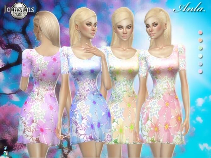 Sims 4 Anla spring dress by jomsims at TSR