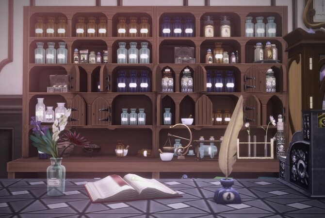 Glass bottle decors for antique pharmacy by Pocci at Garden Breeze Sims 4 image 184 670x449 Sims 4 Updates