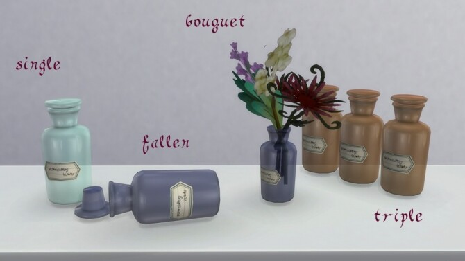Sims 4 Glass bottle decors for antique pharmacy by Pocci at Garden Breeze Sims 4