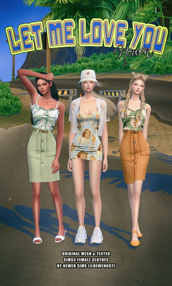 Sims 4 Sleeveless frill top, skirt and dress at NEWEN