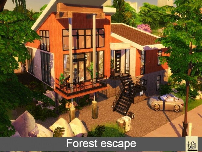 Forest escape large family modern house by GenkaiHaretsu at TSR image 2125 670x503 Sims 4 Updates