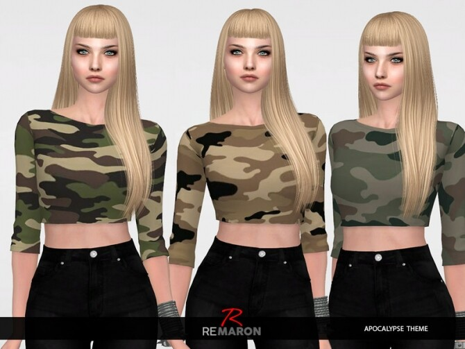 Sims 4 Camuflage Blouse for Women by remaron at TSR