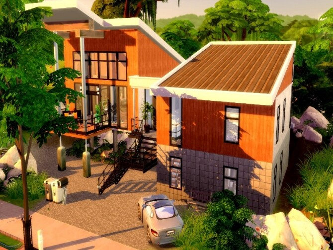 Forest escape large family modern house by GenkaiHaretsu at TSR image 2223 670x503 Sims 4 Updates