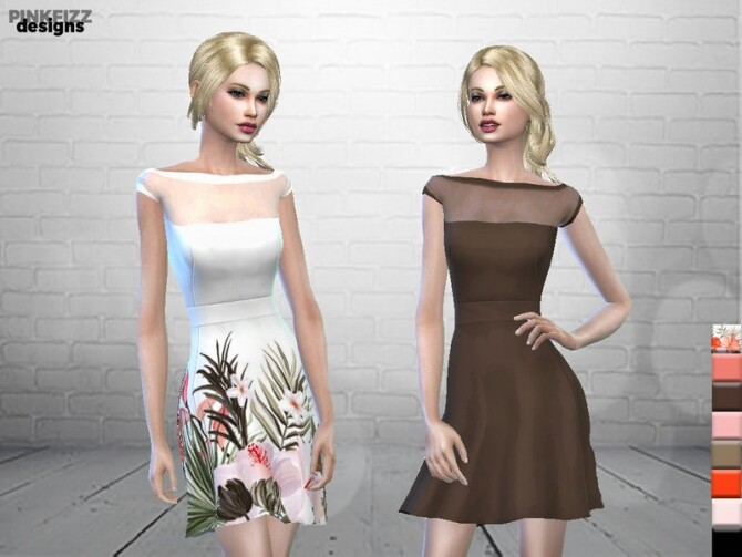 Sims 4 Sweet Lily Dress PF87 by Pinkfizzzzz at TSR