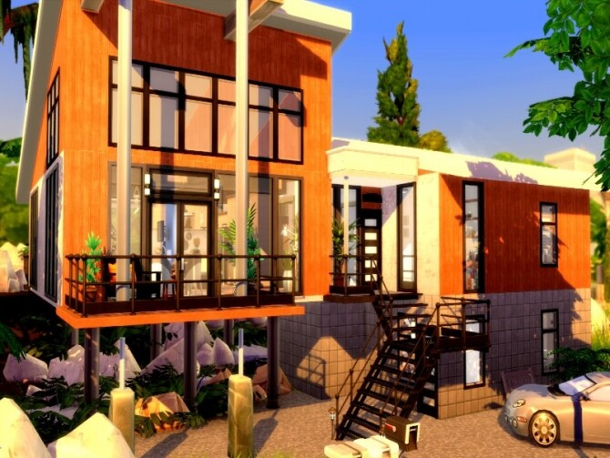 Forest escape large family modern house by GenkaiHaretsu at TSR image 2323 670x503 Sims 4 Updates