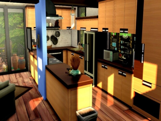 Forest escape large family modern house by GenkaiHaretsu at TSR image 2417 670x503 Sims 4 Updates
