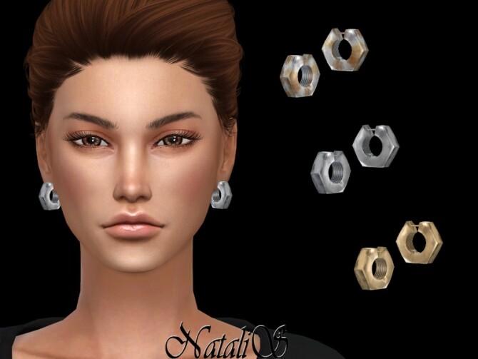 Sims 4 Hex nut hoop earrings by NataliS at TSR