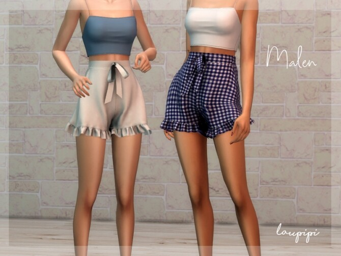 Sims 4 Malen shorts with ruffle by laupipi at TSR