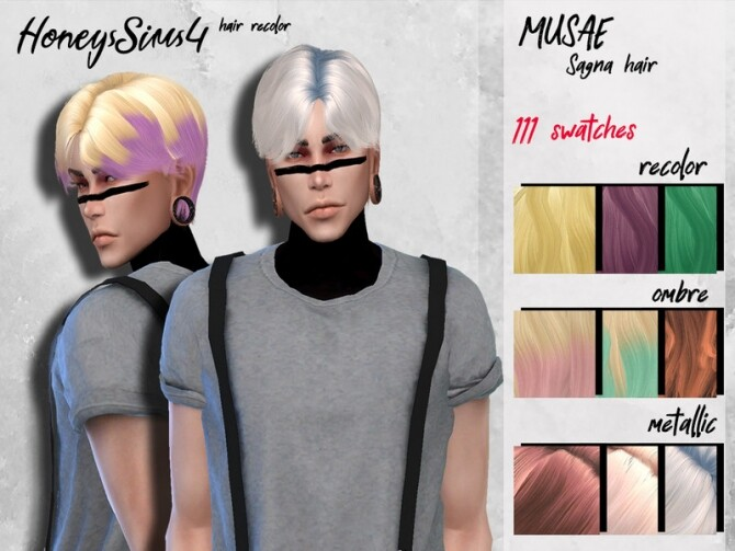 Sims 4 Male hair recolor Musae Sagna by HoneysSims4 at TSR