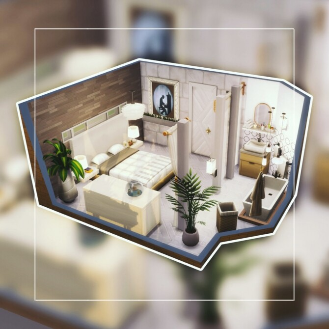 Sims 4 Modern master bedroom at DH4S