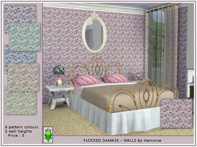 Sims 4 Flocked Damask Walls by marcorse at TSR