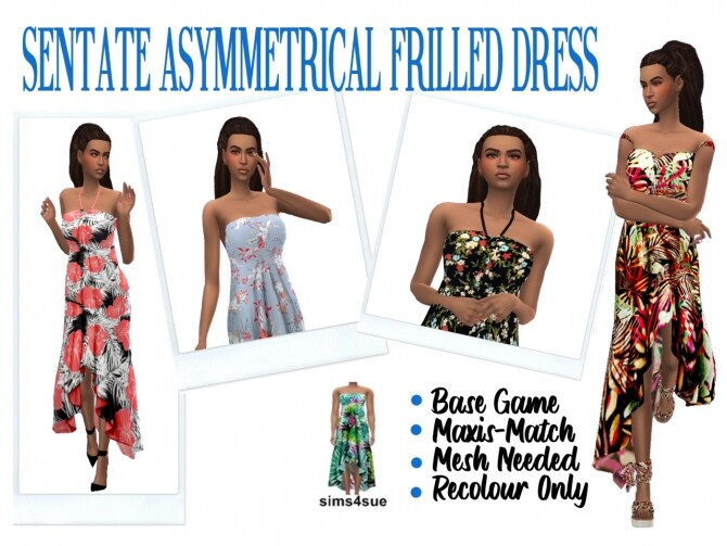 SENTATE'S ASYMMETRICAL FRILLED DRESS at Sims4Sue image 273 670x503 Sims 4 Updates